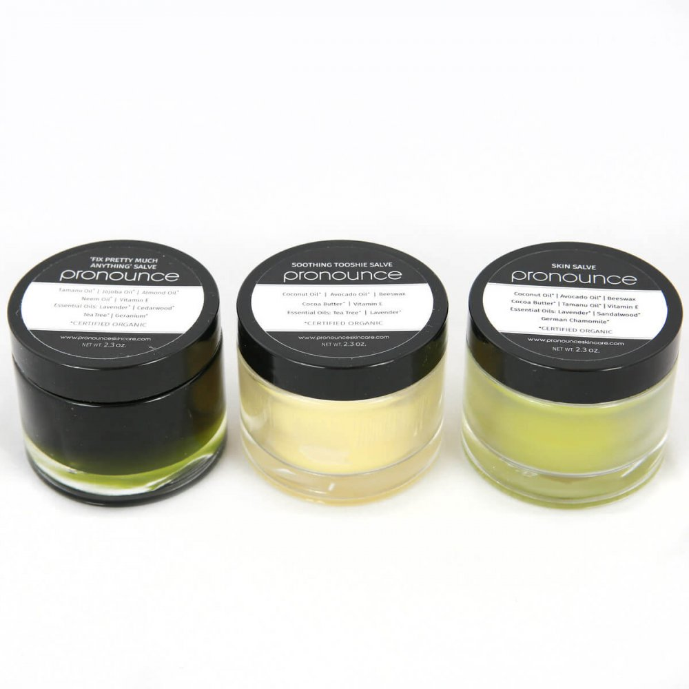 3 Salves 2.3oz Size Pronounce Skincare & Herbal Boutique