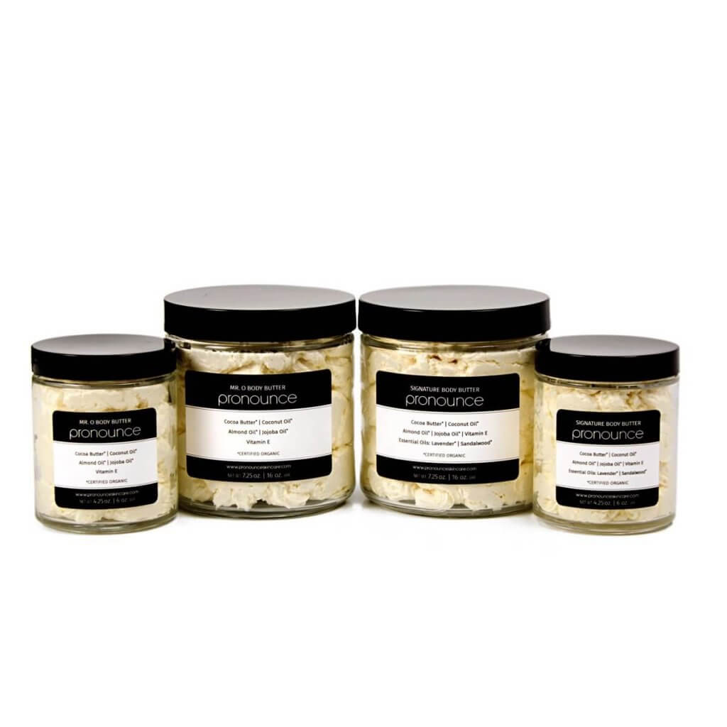 Body Butters (all sizes & scents, lids on) - Pronounce Skincare 1200 x 1200