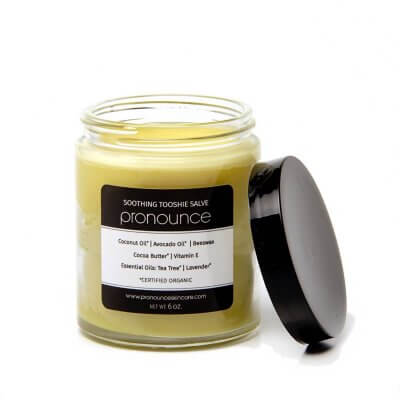 Soothing Tooshie Salve (lid off) - Pronounce Skincare 1200 x 1200