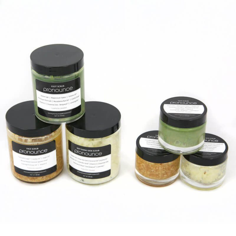 Full Scrub Line All Sizes Two Sides Pronounce Skincare