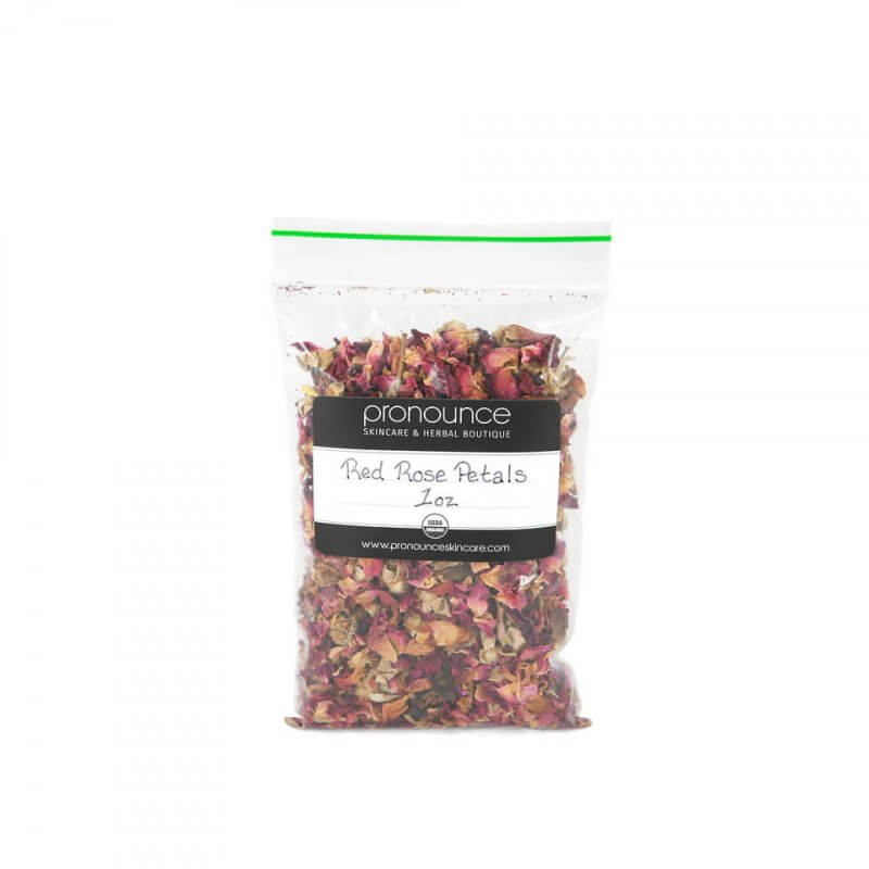 Certified Organic Red Rose Petals 1oz Pronounce Skincare & Herbal Boutique