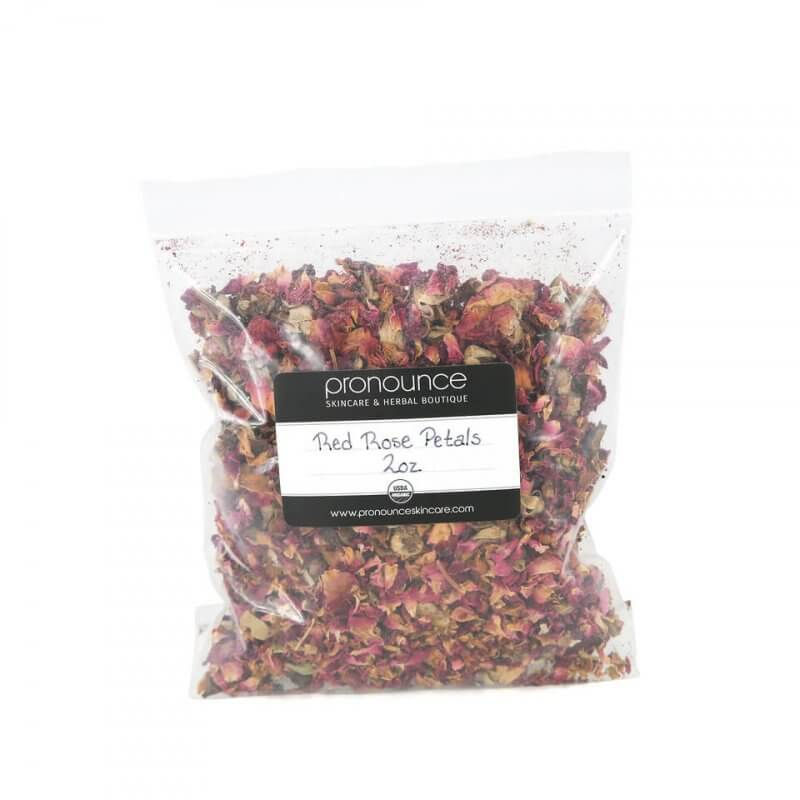 Certified Organic Red Rose Petals 2oz Pronounce Skincare & Herbal Boutique