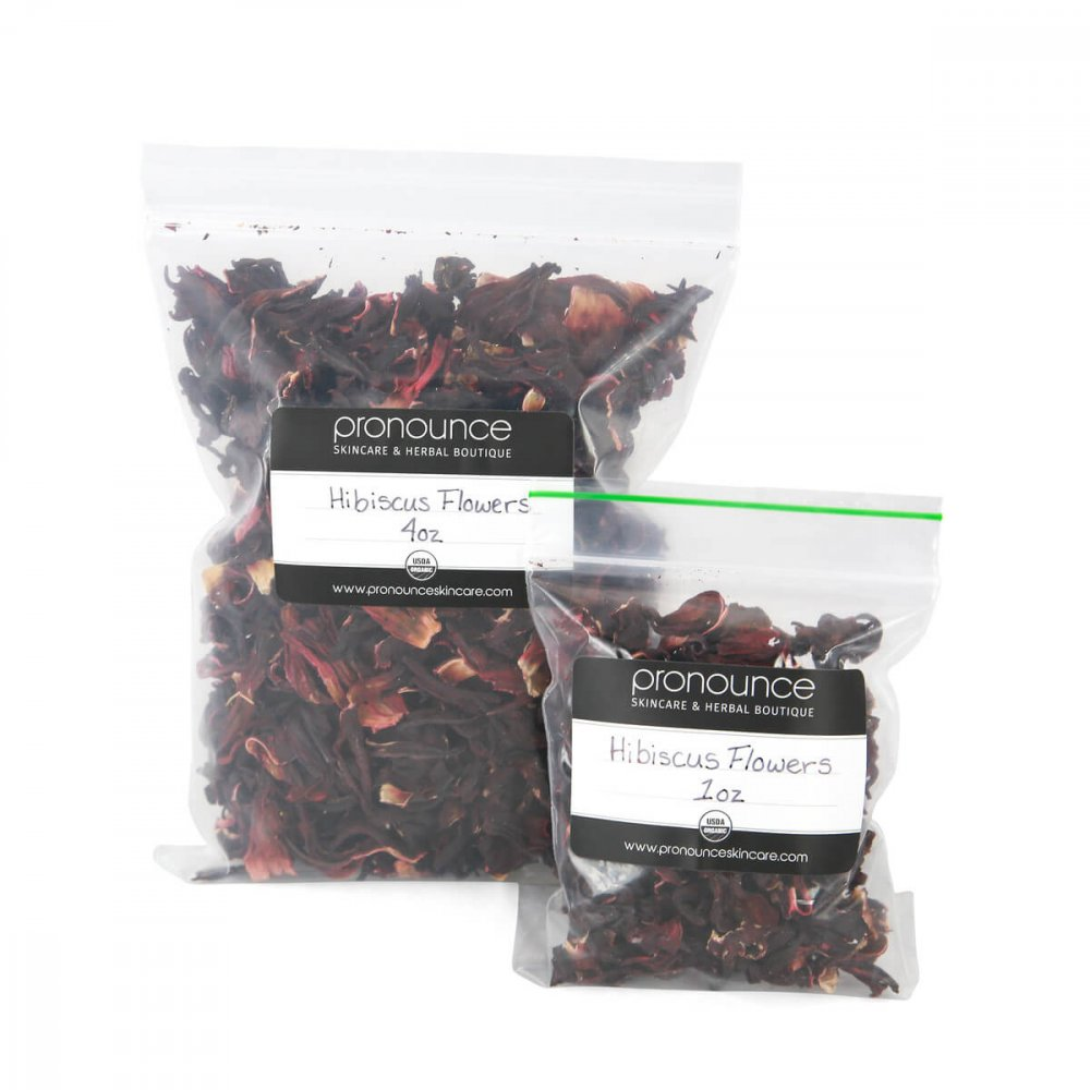 Certified Organic Hibiscus Flower Petals 2 Sizes Pronounce Skincare & Herbal Boutique