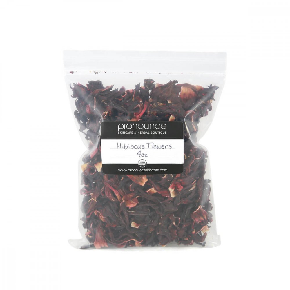 Certified Organic Hibiscus Flower Petals 4oz Pronounce Skincare & Herbal Boutique