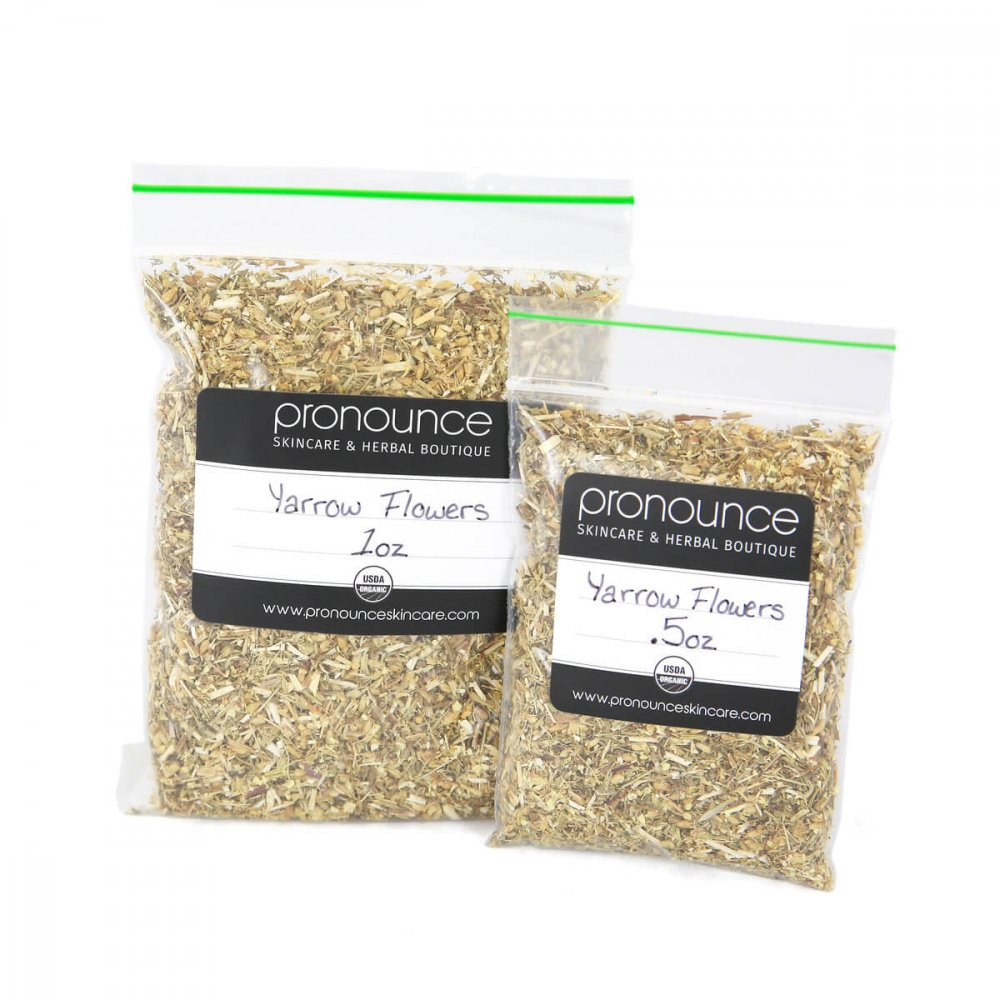 Certified Organic Yarrow Flowers 2 Sizes Pronounce Skincare & Herbal Boutique
