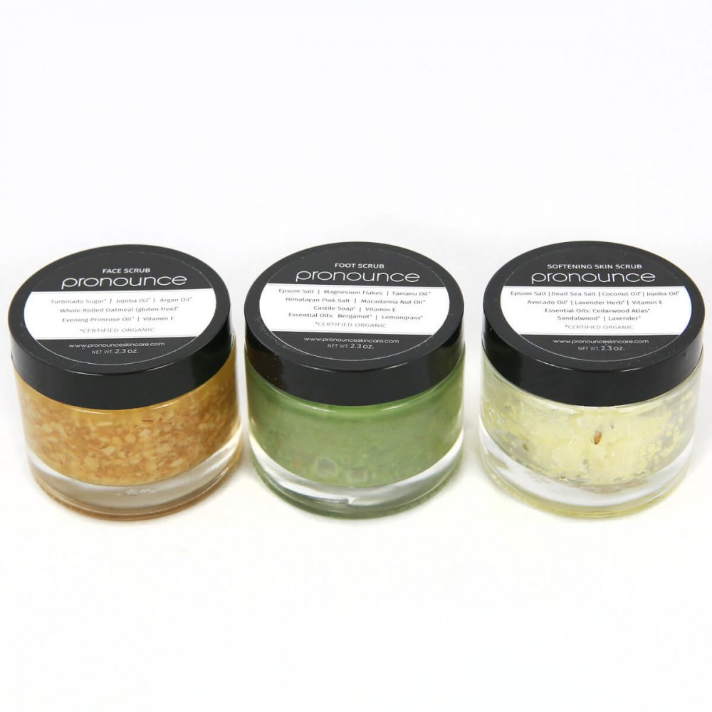 3 Scrubs 2.3oz Size Pronounce Skincare