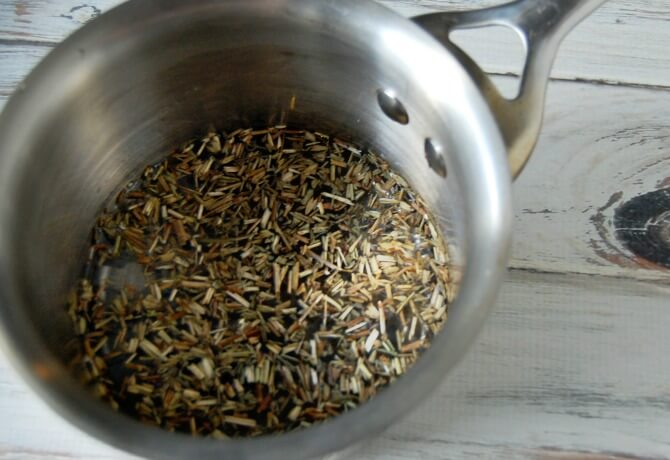 Hyssop Herb Infusing for DIY Hyssop Cough Drops - Pronounce Skincare & Herbal Boutique