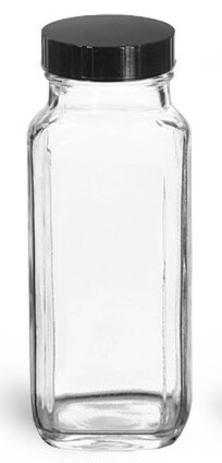8 oz Clear Glass French Square Bottle - Pronounce Skincare & Herbal Boutique